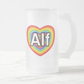 I love Alf, rainbow heart 16 Oz Frosted Glass Beer Mug