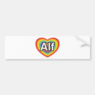 I love Alf, rainbow heart Bumper Sticker