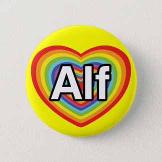 I love Alf, rainbow heart Button