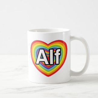 I love Alf, rainbow heart Classic White Coffee Mug