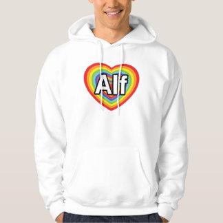 I love Alf, rainbow heart Hooded Sweatshirt