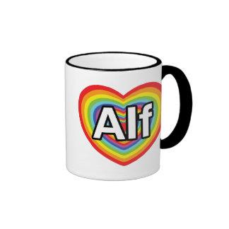 I love Alf, rainbow heart Ringer Coffee Mug