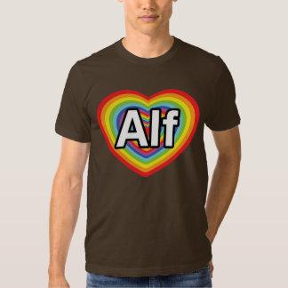 I love Alf, rainbow heart Tee Shirt