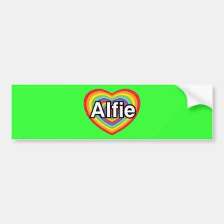 I love Alfie, rainbow heart Bumper Sticker