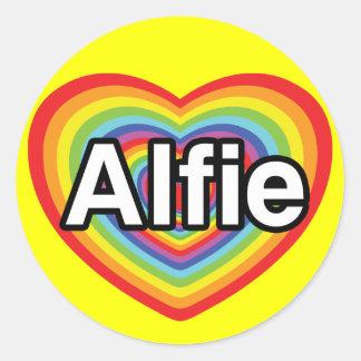 I love Alfie, rainbow heart Classic Round Sticker