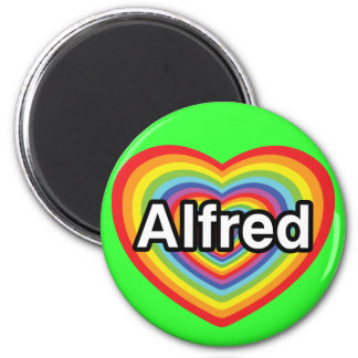 I love Alfred, rainbow heart 2 Inch Round Magnet