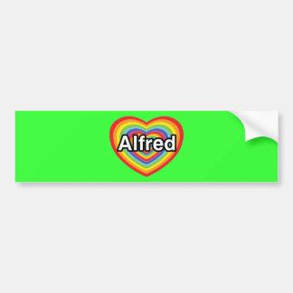I love Alfred, rainbow heart Bumper Sticker