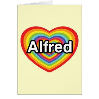 I love Alfred, rainbow heart Card