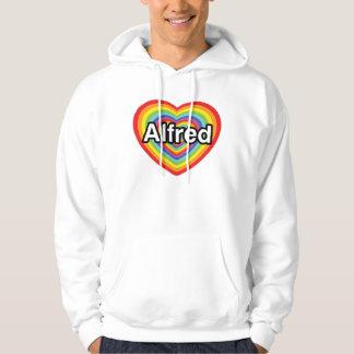 I love Alfred, rainbow heart Hoodie