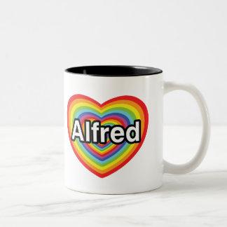 I love Alfred, rainbow heart Two-Tone Coffee Mug