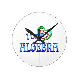 I Love Algebra Round Wall Clocks