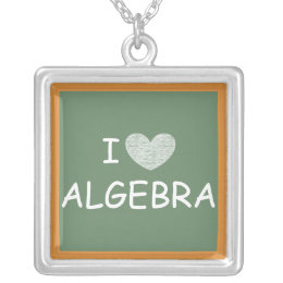 I Love Algebra Silver Plated Necklace