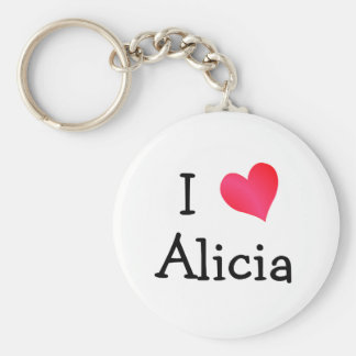 I Love Alicia Basic Round Button Keychain
