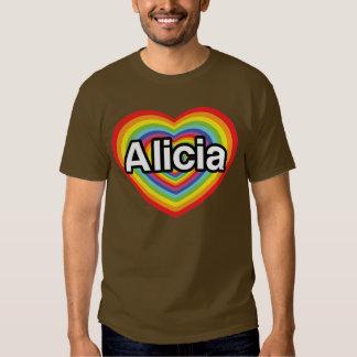 I love Alicia, rainbow heart Tee Shirt