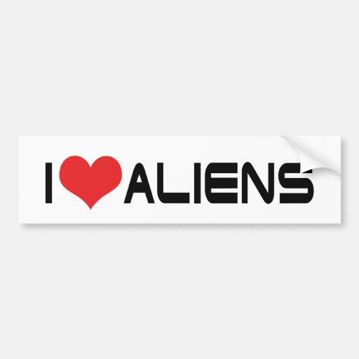 I Love Aliens Bumper Sticker