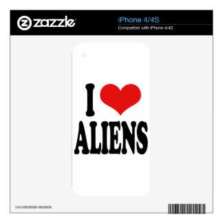 I Love Aliens Decals For iPhone 4S