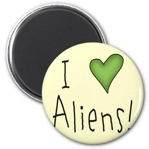 I Love Aliens II 2 Inch Round Magnet
