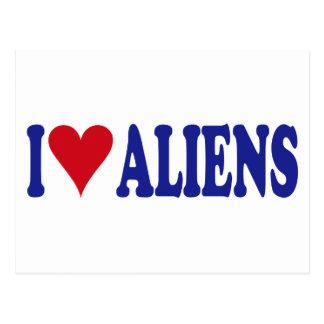 I Love Aliens Post Cards