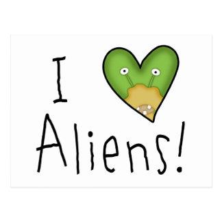I Love Aliens Postcard