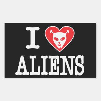 I Love Aliens Rectangular Sticker
