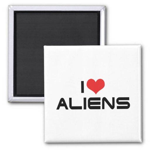 I Love Aliens Refrigerator Magnet