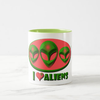 I Love Aliens Two-Tone Coffee Mug
