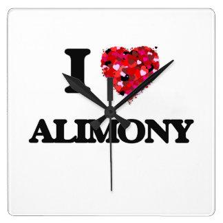 I Love Alimony Square Wall Clocks