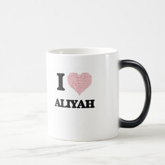 I love Aliyah (heart made from words) design 11 Oz Magic Heat Color-Changing Coffee Mug
