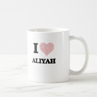 I love Aliyah (heart made from words) design Classic White Coffee Mug