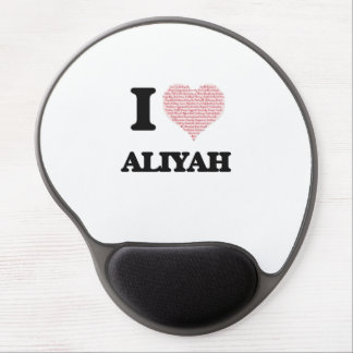 I love Aliyah (heart made from words) design Gel Mouse Pad