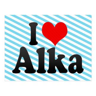 I love Alka Postcard