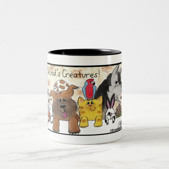 I Love All God's Creatures! Two-Tone Coffee Mug