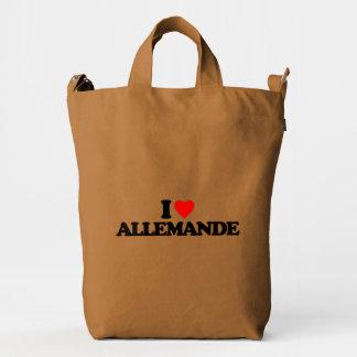 I LOVE ALLEMANDE DUCK CANVAS BAG