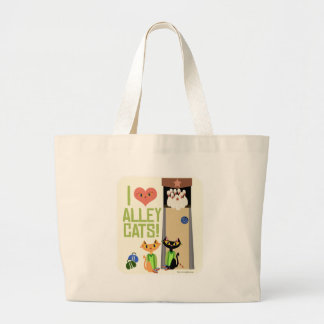 I Love Alley Cats Large Tote Bag