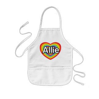 I love Allie, rainbow heart Aprons