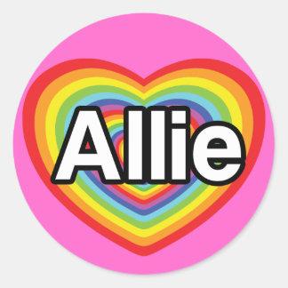 I love Allie, rainbow heart Classic Round Sticker