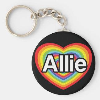 I love Allie, rainbow heart Keychain