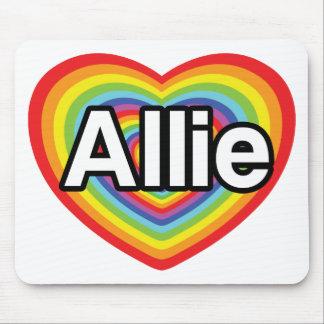 I love Allie, rainbow heart Mouse Pad
