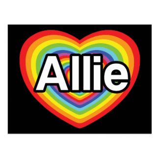 I love Allie, rainbow heart Postcard