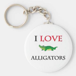 I Love Alligators Basic Round Button Keychain