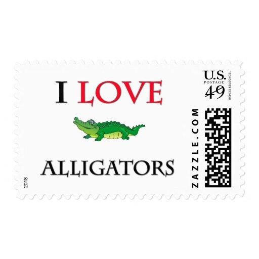 I Love Alligators Postage Stamp