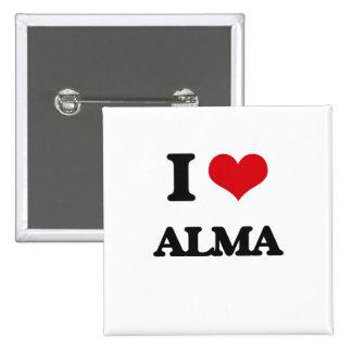I Love Alma 2 Inch Square Button