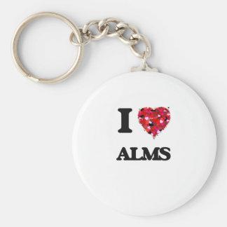 I Love Alms Basic Round Button Keychain