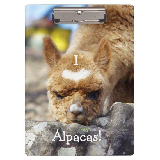 I Love Alpacas Clipboard
