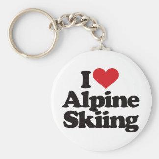 I Love Alpine Skiing Keychain