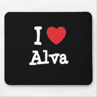 I love Alva heart custom personalized Mouse Pads