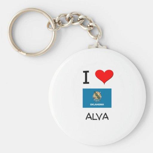 I Love Alva Oklahoma Keychain