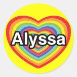 I love Alyssa, rainbow heart Round Sticker
