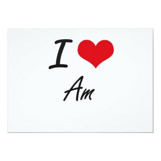 I Love Am Artistic Design 5x7 Paper Invitation Card