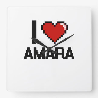 I Love Amara Digital Retro Design Square Wallclock